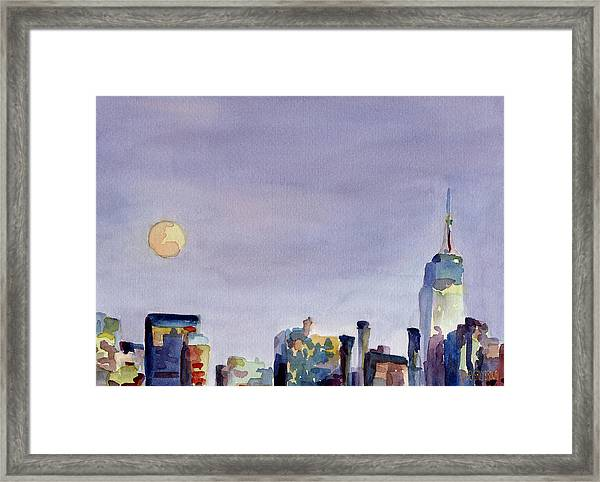 Full Moon And Empire State Building Watercolor Painting Of Nyc Framed Print