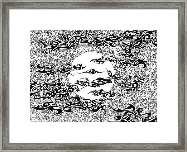 Full Moon On A Cloudy Night Framed Print