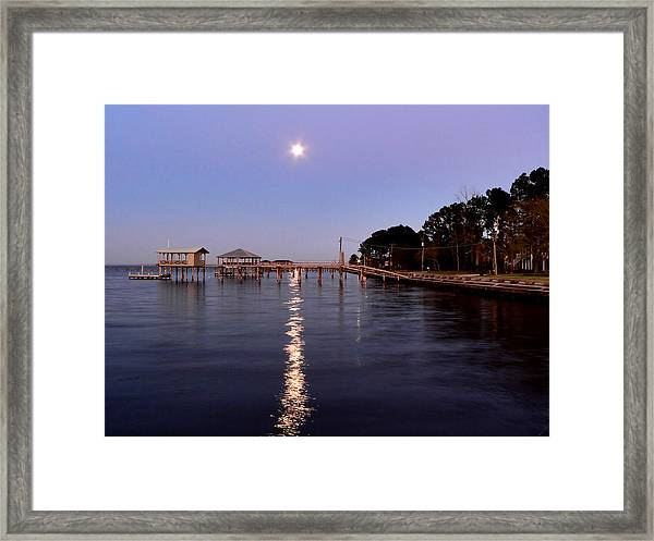 Full Moon On The Bay Framed Print