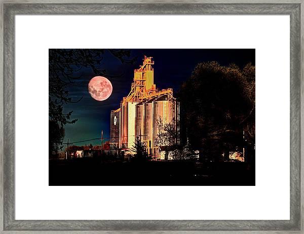 Full Moon Over Elevator Framed Print