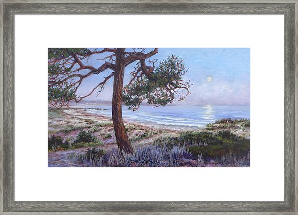 Full Moon Over Pebble Beach Framed Print
