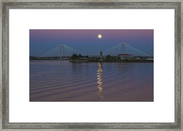 Full Moon Over The Cable Bridge Framed Print