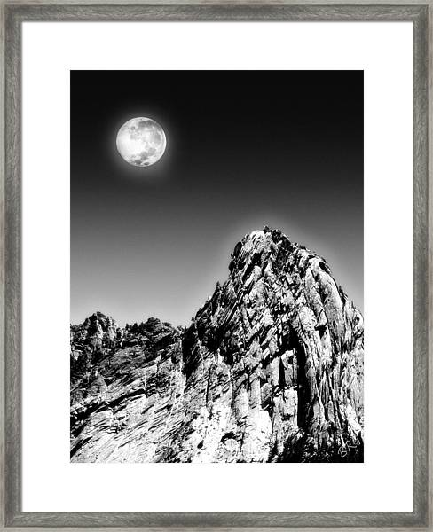 Full Moon Over The Suicide Rock Framed Print
