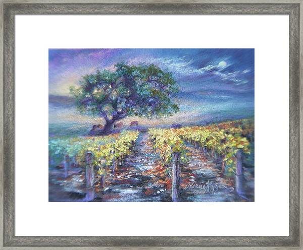 Full Moon Over The Vineyard Framed Print