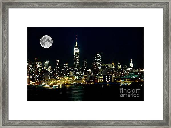 Full Moon Rising - New York City Framed Print