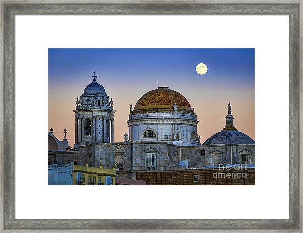 Full Moon Rising Over The Cathedral Cadiz Spain Framed Print