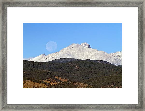 Full Moon Setting Over Snow Covered Twin Peaks  Framed Print