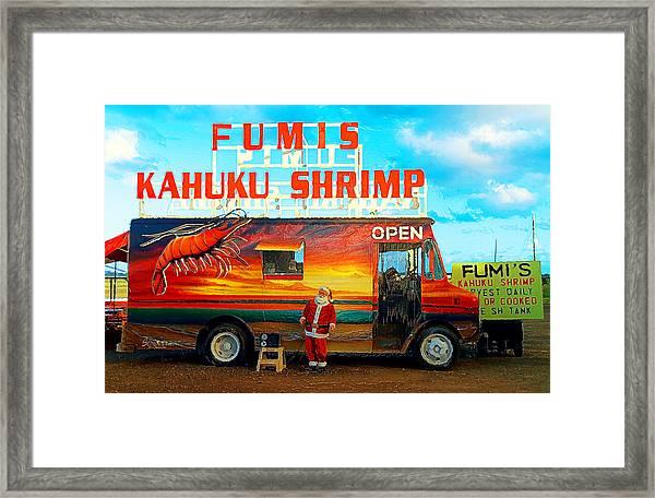 Fumis Kahuku Shrimp Framed Print
