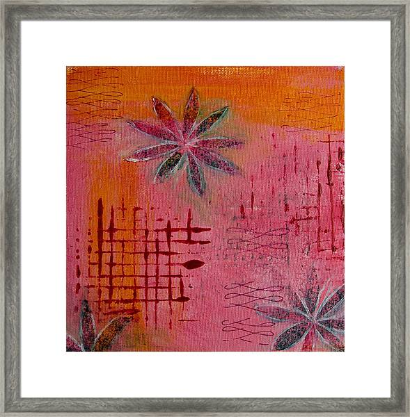 Fun Flowers In Pink And Orange 1 Framed Print