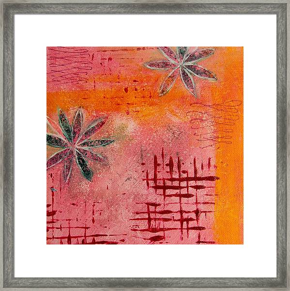 Fun Flowers In Pink And Orange 2 Framed Print