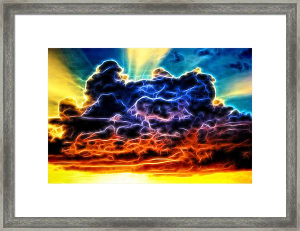Funky Glowing Electrified Rainbow Clouds Abstract Framed Print