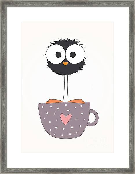 Funny Bird On A Cup Illustration Framed Print