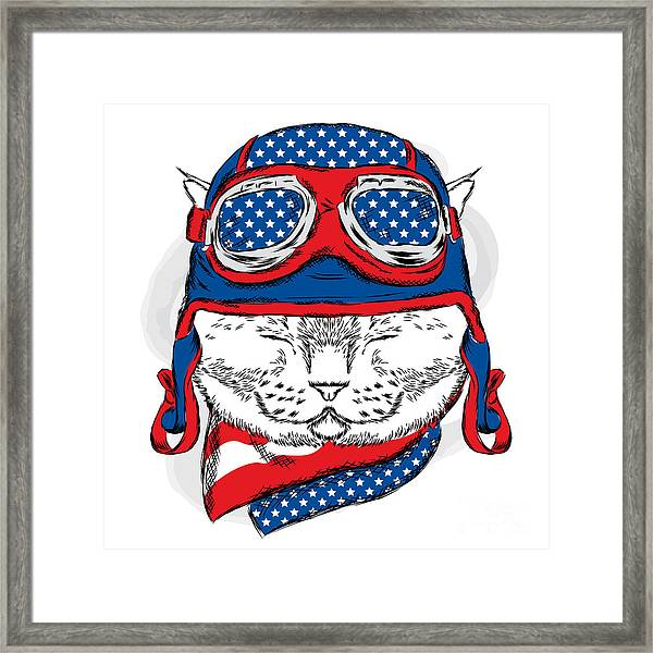 Funny Cat In The Hat And Scarf. Vector Framed Print