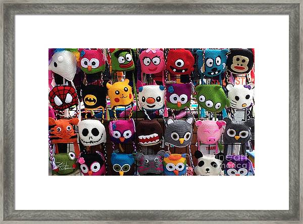 Funny Hats On The Street Framed Print