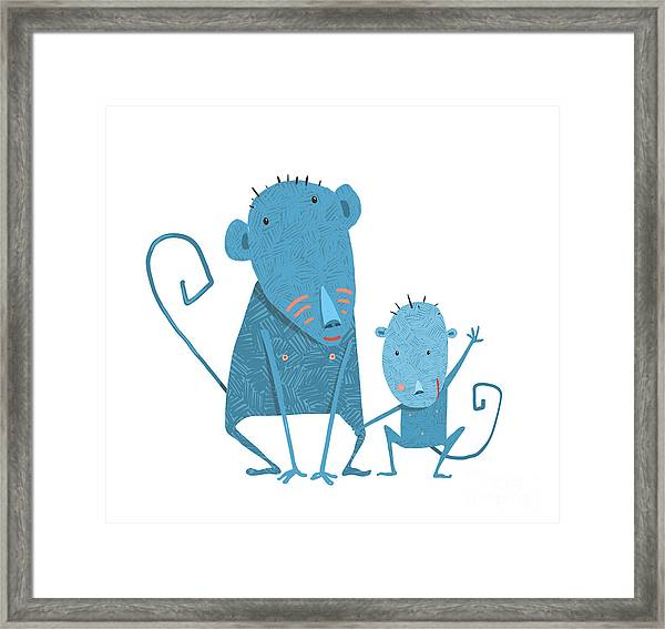 Funny Kids Monkey Characters Mother And Framed Print