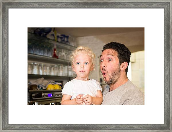 Funny Portrait Of Father And Daughter Framed Print by - Locrifa -