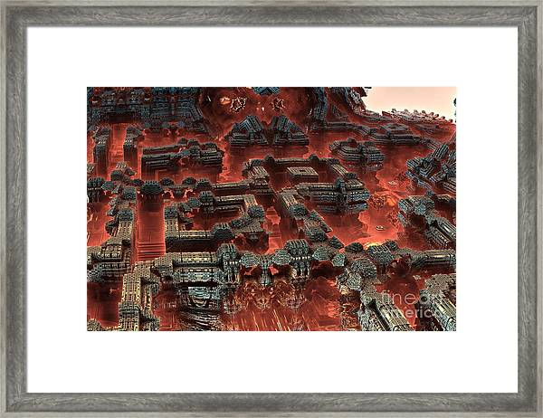Future City In Red Framed Print by Bernard MICHEL