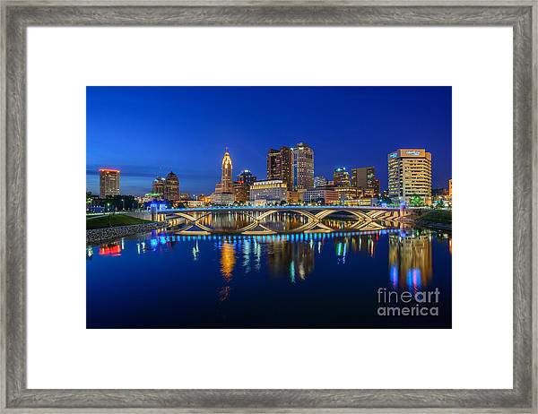 Fx2l530 Columbus Ohio Night Skyline Photo Framed Print