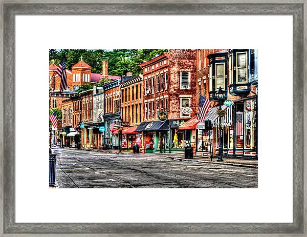 Galena Main Street Early Summer Morning Framed Print