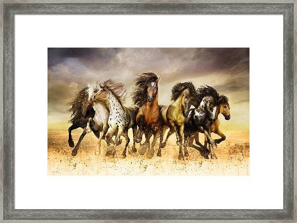 Galloping Horses Full Color Framed Print