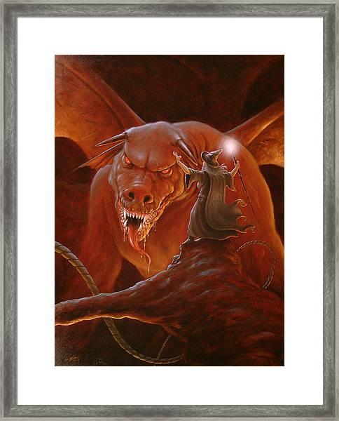 Gandalf Fighting The Balrog Framed Print