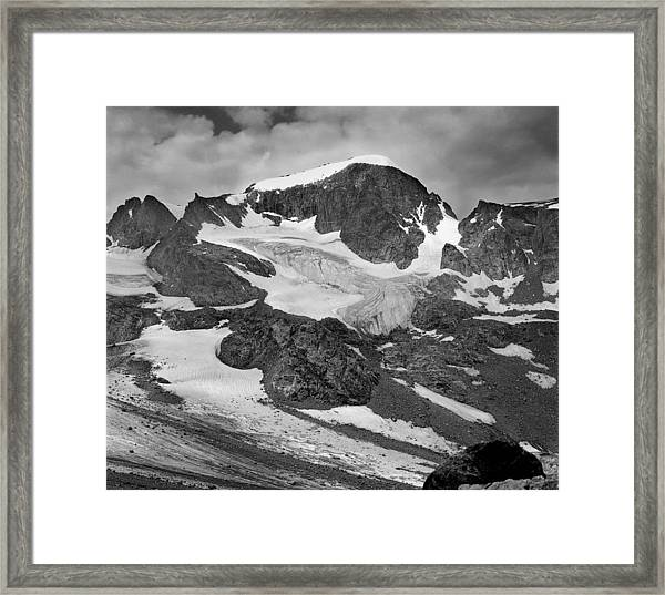 509427-bw-gannett Peak And Gooseneck Glacier, Wind Rivers Framed Print