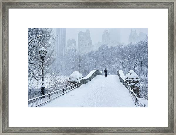 Gapstow Bridge Central Park Snowstorm Framed Print