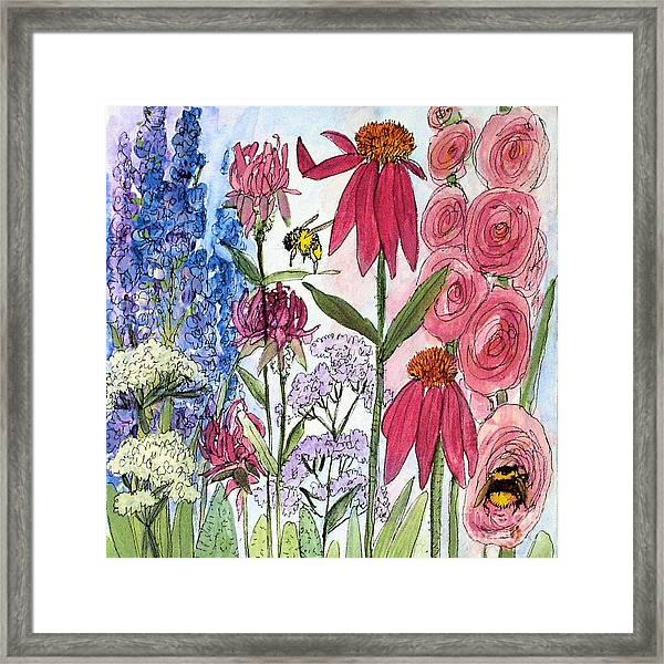 Garden Flower And Bees Framed Print