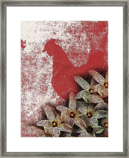 Garden Rooster Framed Print