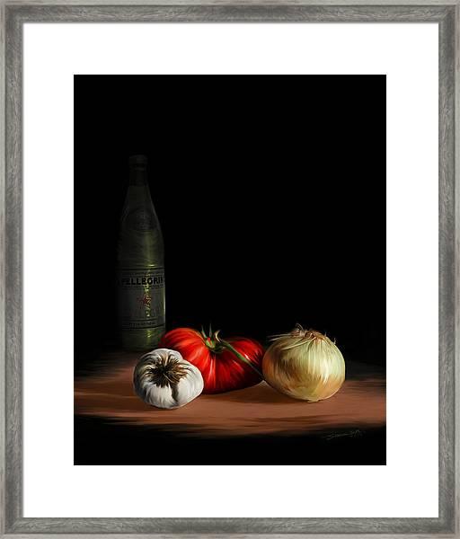 Garden Vegetables With Pellegrino Framed Print