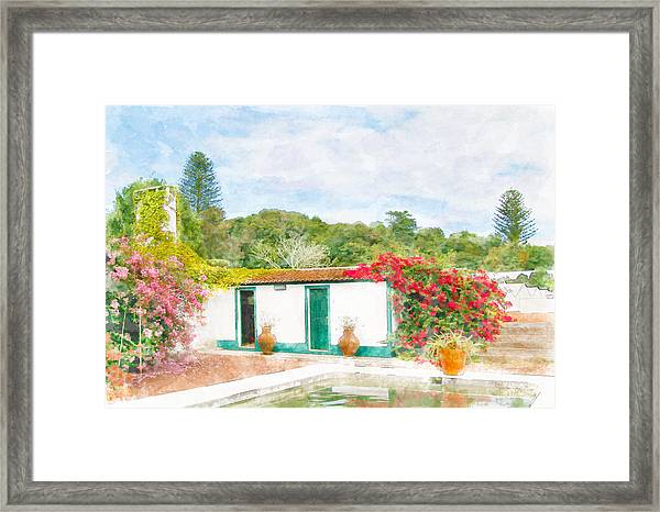 Garden Watercolor Painting Framed Print