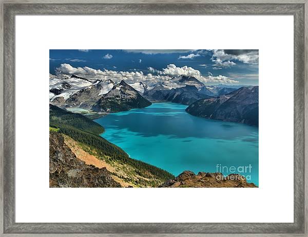 Garibaldi Lake Blues Greens And Mountains Framed Print