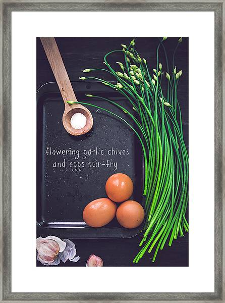 Garlic Chives And Eggs Framed Print