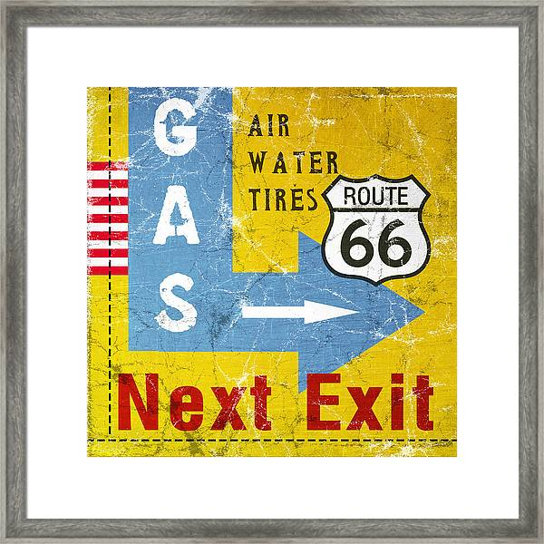 Gas Next Exit- Route 66 Framed Print