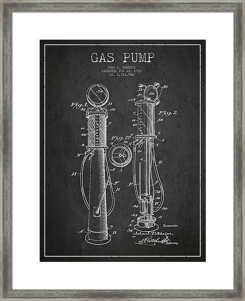 Gas Pump Patent Drawing From 1930 - Dark Framed Print