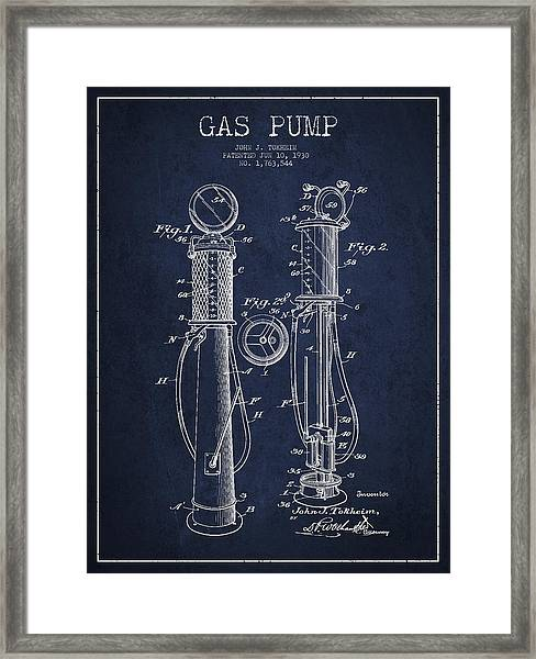 Gas Pump Patent Drawing From 1930 - Navy Blue Framed Print