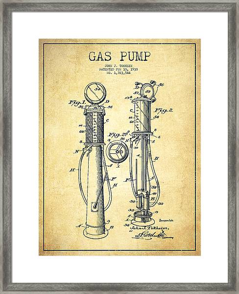 Gas Pump Patent Drawing From 1930 - Vintage Framed Print