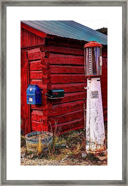 Gas Pump Post Office Framed Print