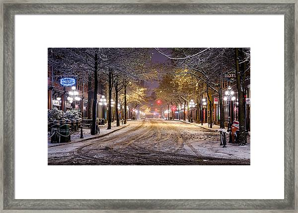 Gastown Snow Framed Print