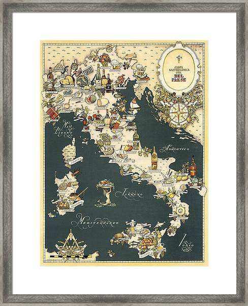 Gastronomic Map Of Italy 1949 Framed Print