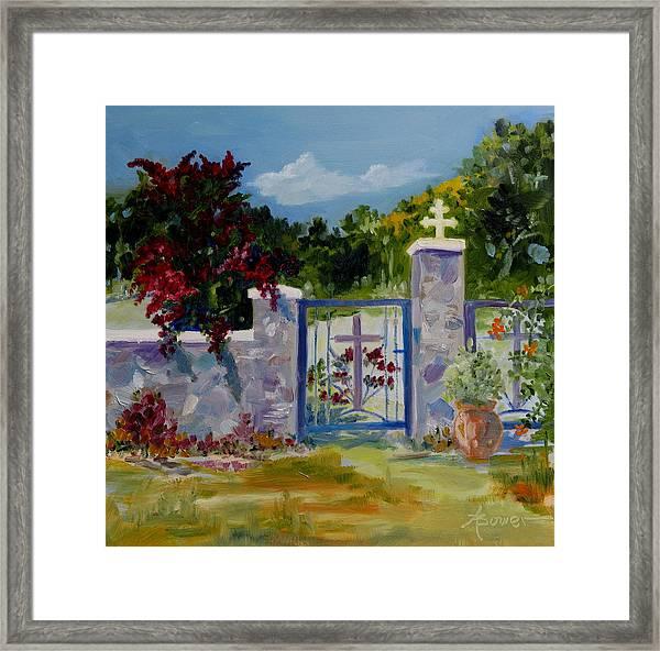 Gate At Tharri Monastery - Rhodes Framed Print