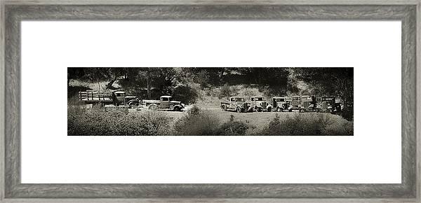 Gathering Black And White Framed Print