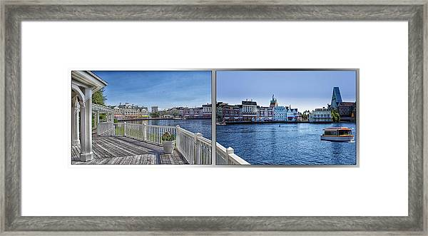 Gazebo 02 Disney World Boardwalk Boat Passing By 2 Panel Framed Print