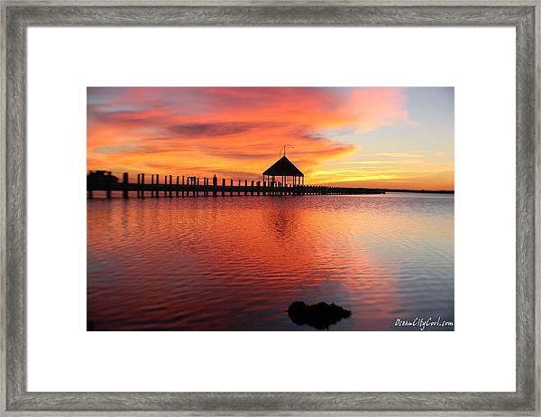 Gazebo's Sunset Reflection Framed Print