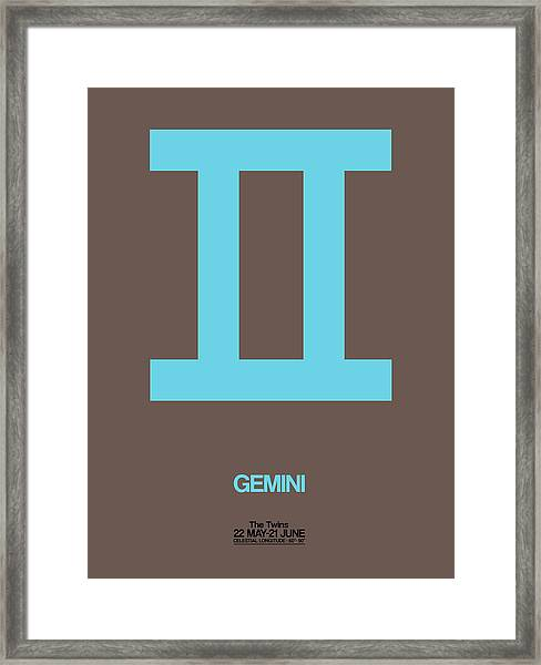 Gemini Zodiac Sign Blue Framed Print