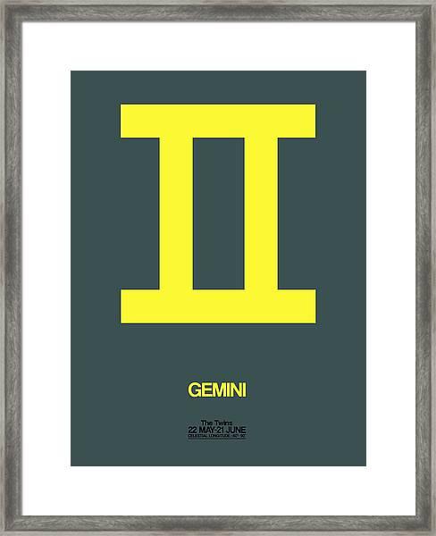 Gemini Zodiac Sign Yellow Framed Print