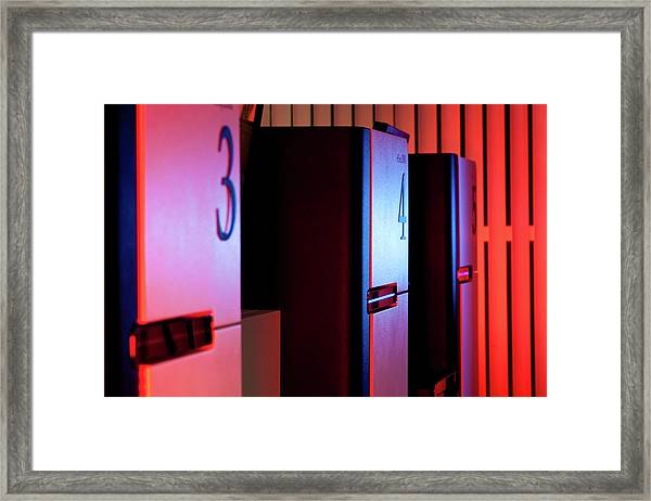 Genome Sequencing Machines Framed Print by Martin Krzywinski/science Photo Library