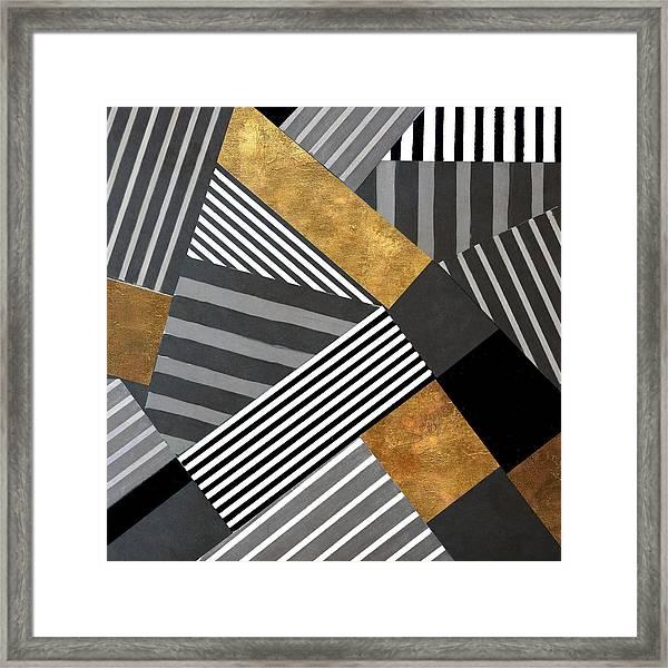 Geo Stripes In Gold And Black II Framed Print