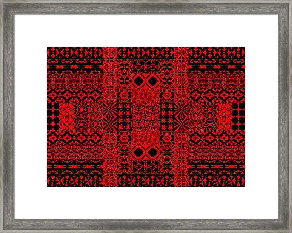 Geometric Abstract In Red Framed Print
