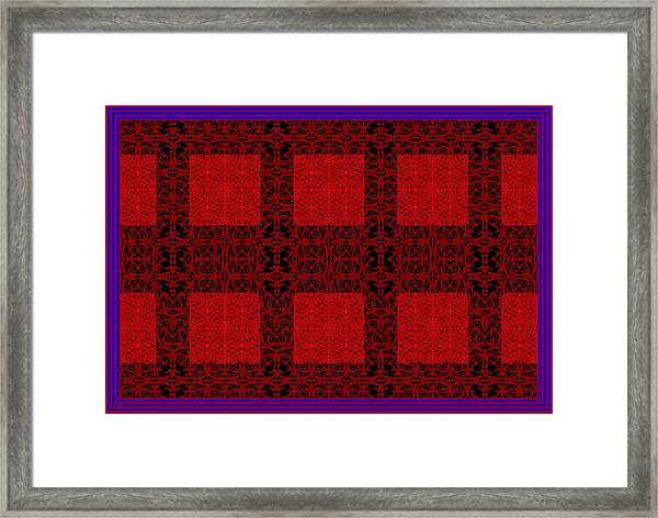 Geometric Abstract Stereo In Red Framed Print